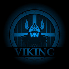 Viking emblem appearing out of the darkness. Logo. Perfect on your black shirt! vector
