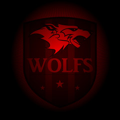 Wolf, a sports logo. the emblem appearing out of the darkness. Perfect on your black shirt! vector