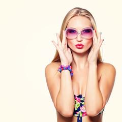Girl in bikini and sunglasses