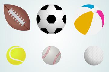 set of balls. the ball football, Rugby, tennis ball, Golf, beach ball, baseball. vector