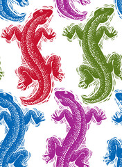 Vector lizards wrapping paper, colorful seamless pattern