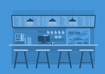 coffee counterin in Blue monotone color background