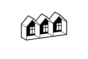 Simple monochrome cottages vector illustration, black and white