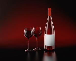 Сlosed Burgundy red wine bottle.