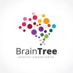 Creative idea Brain Tree Logo template