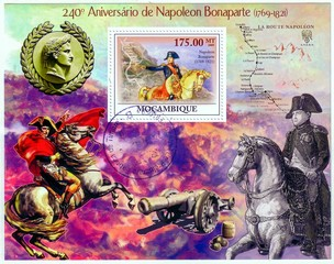 MOZAMBIQUE - CIRCA 2009: A stamp printed in Mozambique showing Battle of Waterloo, 240th Anniversary of Napoleon Bonaparte (1769-1821), circa 2009