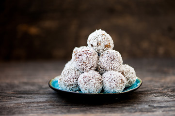 Homemade raw chocolate truffles