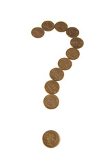 Question mark from gold coins on white  background