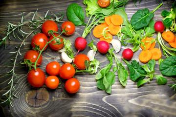 Healthy diet (eating) - fresh organic vegetables