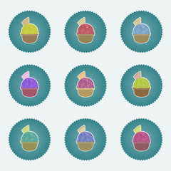 Set of Ice Cream in the cup sign icons. Sweet symbol. Realisitc illustrations retro lables, web icons, vary hues. Vector