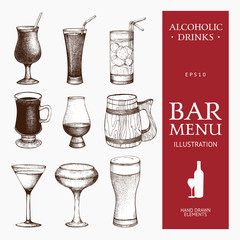 Vector set of vintage alcoholic drinks sketch. Ink hand drawn beverage illustrations for bar or restaurant menu isolated on white background.
