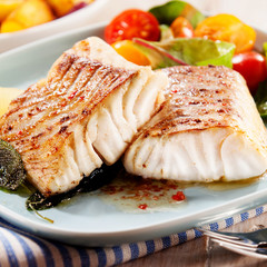 Fotobehang Vis Fillets of savory marinated pollock