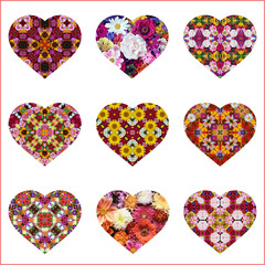 Valentine's Day cards with a flower pattern, isolate.