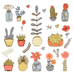 Colorfulhand drawn collection of plants