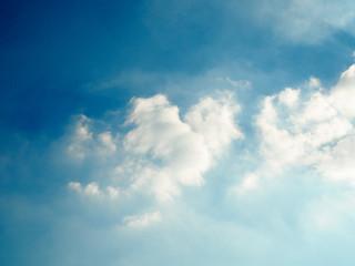 Dark blue sky and apart of white cloud in the rainy season