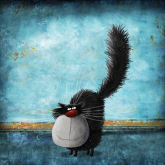 Fluffy Cat On Background Painted Old Wall