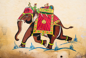 "Rajasthan, India. Traditional painting wall ""Maharaja (king) on an elephant"""
