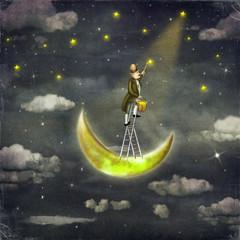 Man draws  stars  at top of tall ladder in dark sky