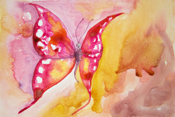Pink butterfly with yellow background. The dabbing technique gives a soft focus effect due to the altered surface roughness of the paper.