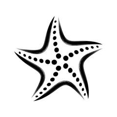 Black vector stylized starfish