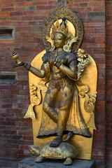 Götterstatue, Mul Chow Palast in Patan / Kathmandu, Nepal