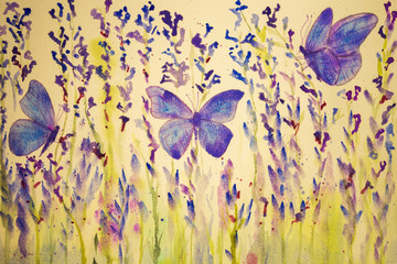 Field of lavender with butterflies. The dabbing technique gives a soft focus effect due to the altered surface roughness of the paper..