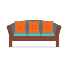 Vintage Sofa Vector Illustration.