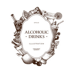 Vector design with hand drawn alcoholic drinks illustration. Vintage beverages sketch background. Retro template