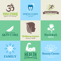 Set of vector beauty and health logo, icons and design elements