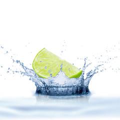 Fresh Lime Fruit With Water Splash