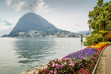 Wall Mural - Pulic park in Lugano, Switzerland