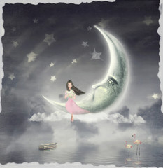 Night. Time of miracles and magic .The illustration shows a girl who is sitting on the moon and the star holds in his hands