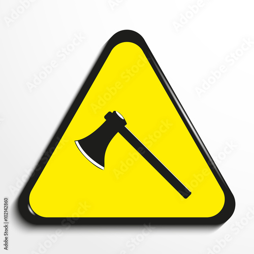 Triangle With A Symbol Axe Vector Illustration Stock Image And