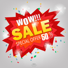 Wow Super sale banner design.Vector illustration
