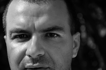 Portrait of adult male in black and white. Self portrait.