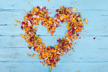bunte frische Blütenblätter zum Herz geformt