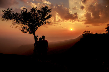 Sunset and the silhouette of sweetheart.