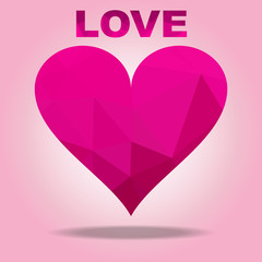 The illustration Love Pink color and Heart polygon Background design.