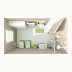 3d interior rendering of furnished bathroom