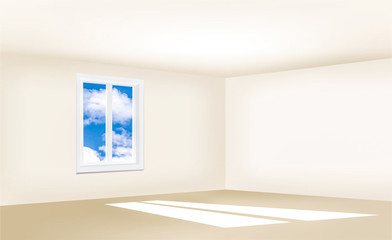 Empty room with beige walls, a window and a blue sky