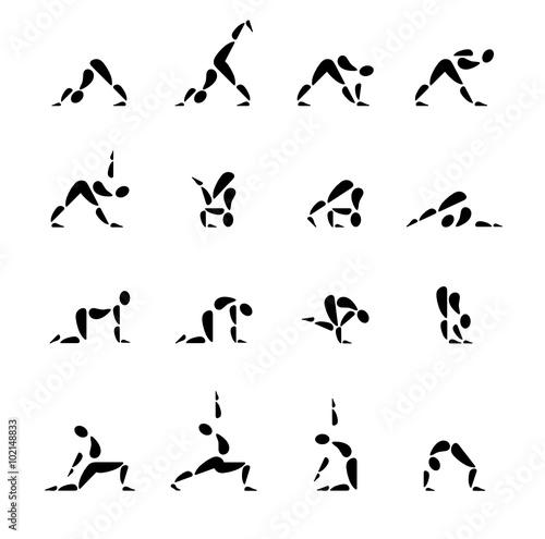 icon symbol piktogramm yoga meditation bungen frauen dehnung stockfotos und. Black Bedroom Furniture Sets. Home Design Ideas