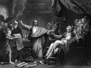An engraved illustration image of Daniel Interpreting The Writing On The Wall , from a vintage Victorian bible dated 1852 Wall mural
