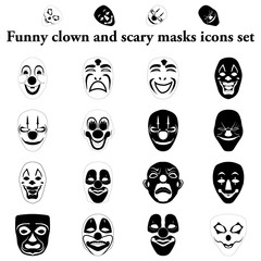 Funny clown and scary masks simple icons set