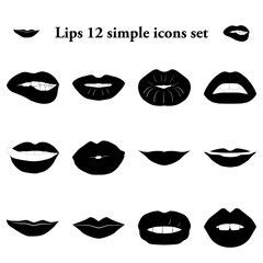 Lips 12 simple icons set