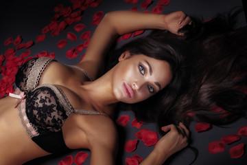 Sensual brunette woman in lingerie posing.