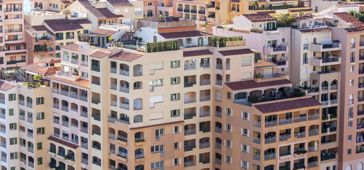 MONTE-CARLO, MONACO, on JANUARY 10, 2016. A view of houses on a slope
