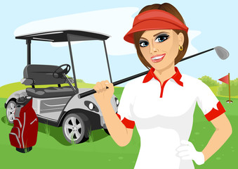 Portrait of pretty female golfer with golf club
