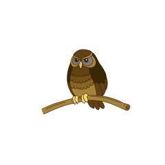Cute hand-drawn horned little owl