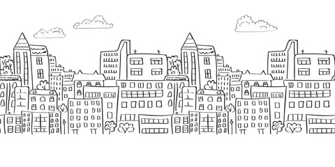 Cityscape seamless border for your design. Doodle vector background.