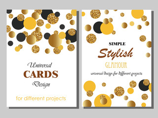Collection of Universal Cards with Gold Glitter Dots.